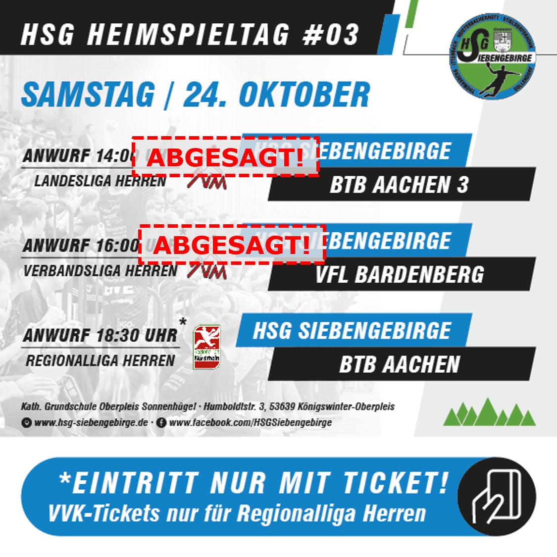 HSG Heimspieltag 3 Absage HVM